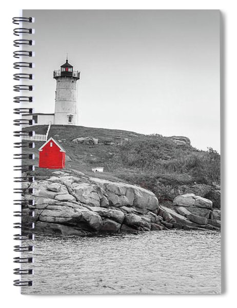 Spiral Notebook featuring the photograph Nubble Lighthouse In Color And Black And White by Doug Camara