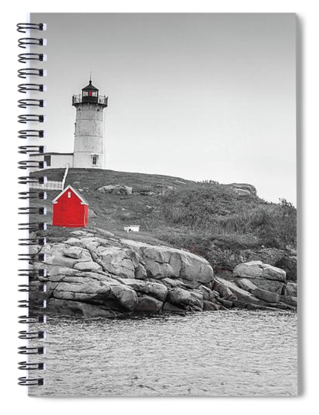 Nubble Lighthouse In Color And Black And White Spiral Notebook