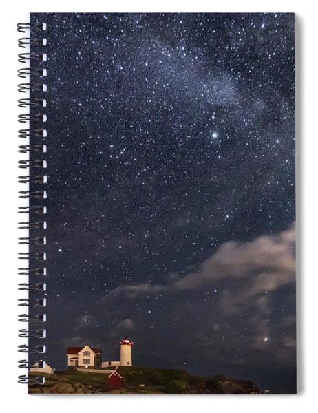 Nubble Lighthouse Under The Milky Way Spiral Notebook