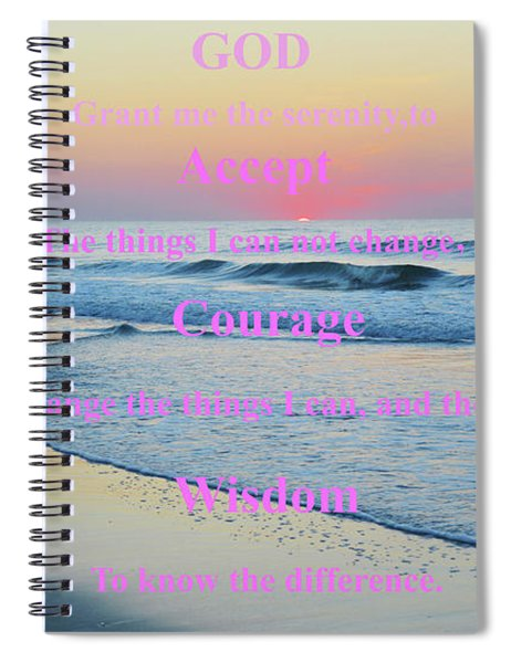 Ocean Sunrise Serenity Prayer Spiral Notebook