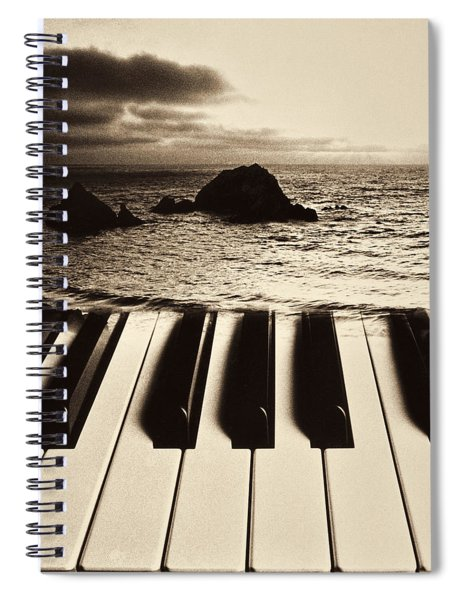 Ocean Washing Over Keyboard Spiral Notebook