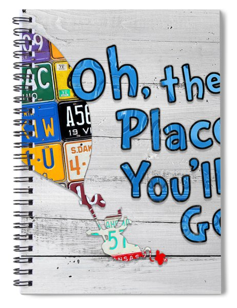 Oh The Places Youll Go Dr Seuss Inspired Recycled Vintage License Plate Art On Wood Spiral Notebook