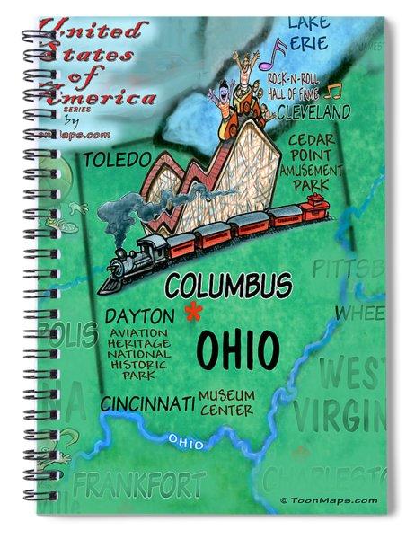Ohio Fun Map Spiral Notebook