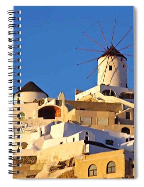 Oia Windmill Spiral Notebook