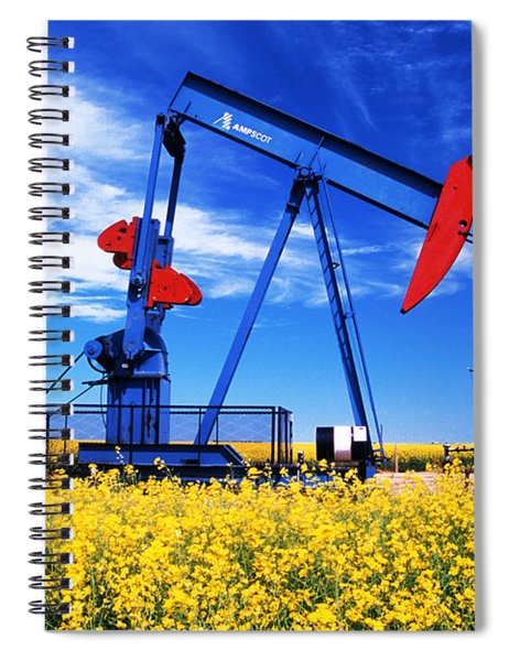 Oil Pumpjack And Canola Field, Arcola Spiral Notebook