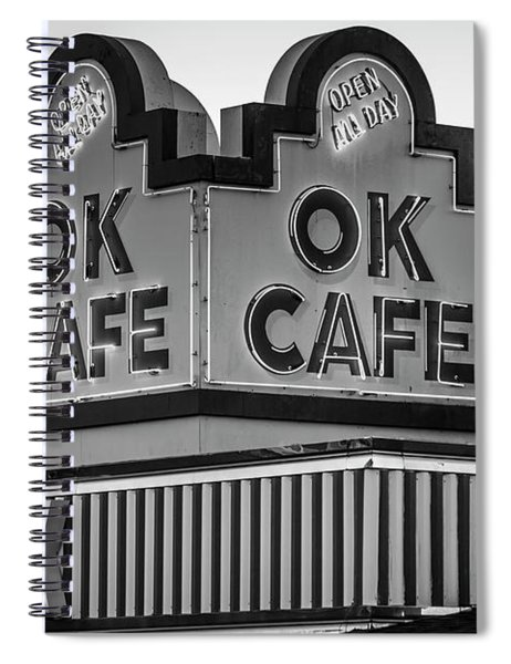 Ok Cafe Neon 2 B W Atlanta Classic Landmark Restaurant Art Spiral Notebook