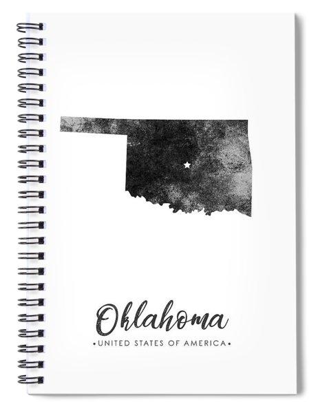 Oklahoma State Map Art - Grunge Silhouette Spiral Notebook