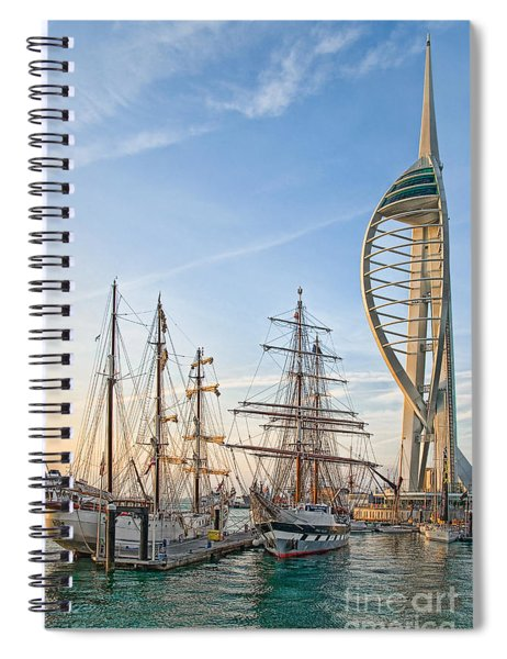 Old And New At Gunwharf Quays Spiral Notebook