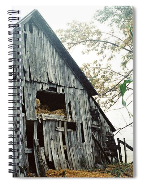 Old Barn In The Morning Mist Spiral Notebook