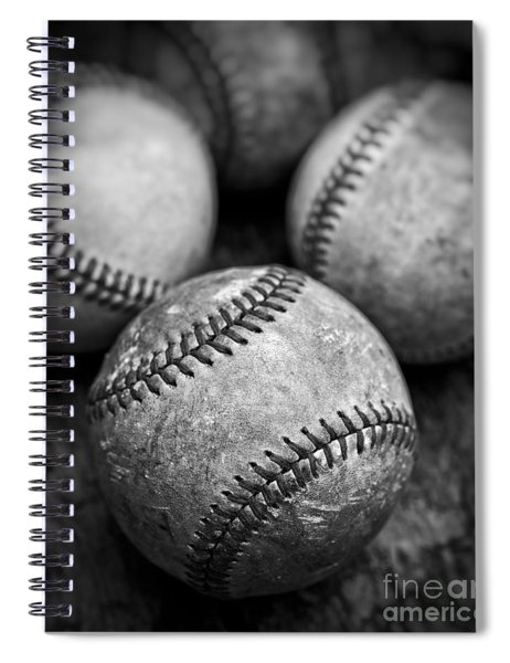 Old Baseballs In Black And White Spiral Notebook by Edward Fielding