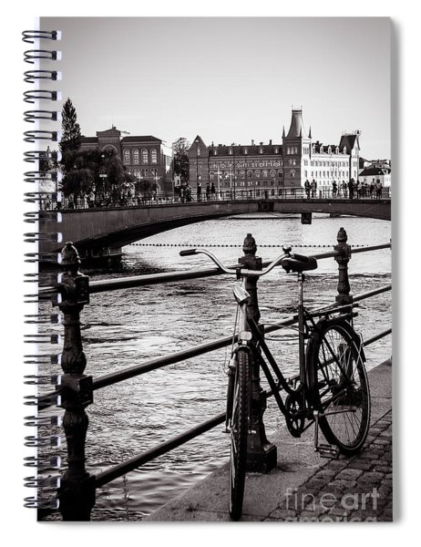 Old Bicycle In Central Stockholm Spiral Notebook