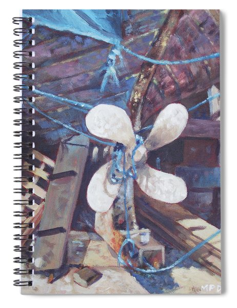 Spiral Notebook featuring the painting Old Boat Propeller by Martin Davey