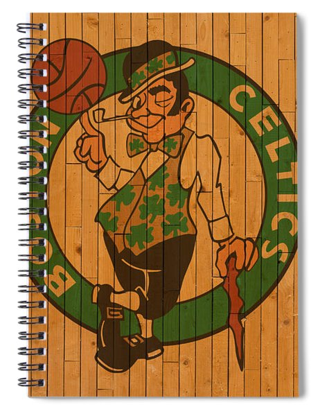 Old Boston Celtics Basketball Gym Floor Spiral Notebook