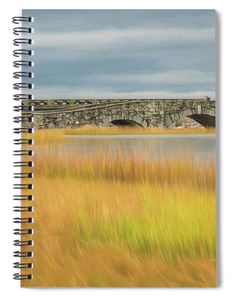 Old Bridge In Autumn Spiral Notebook