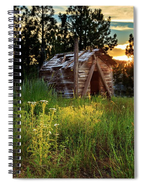 Old Cabin At Sunset Spiral Notebook