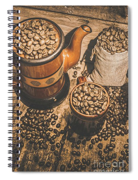 Old Coffee Brew House Beans Spiral Notebook