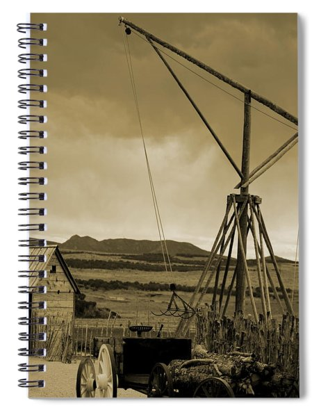 Old Crane And Shed Utah Countryside In Sepia Spiral Notebook