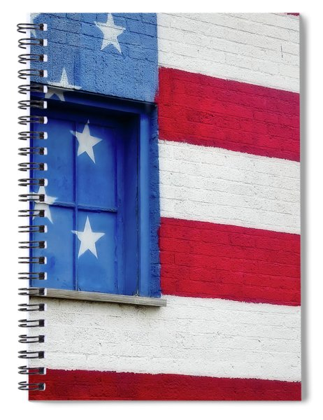 Spiral Notebook featuring the photograph Old Glory, American Flag Mural, Street Art by Robert Bellomy