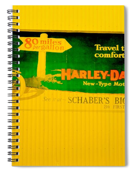 Old Harley Davidson Motorcycle Billboard On Yellow Building Spiral Notebook
