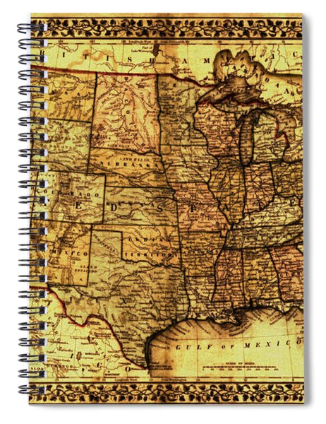 Old Map United States Spiral Notebook