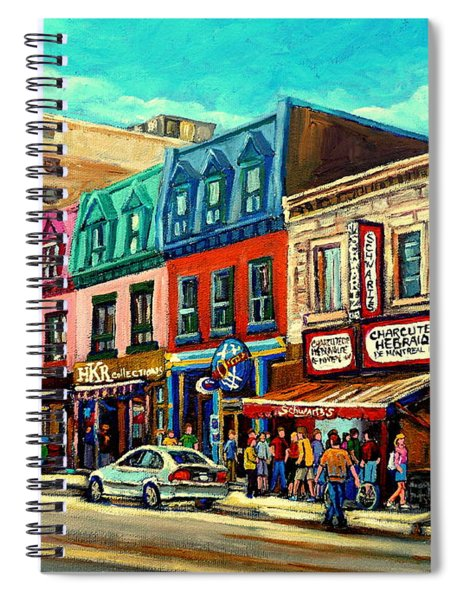 Old Montreal Schwartzs Deli Plateau Montreal City Scenes Spiral Notebook
