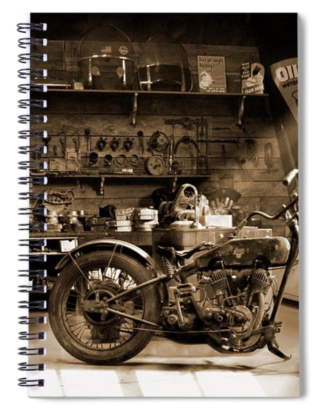 Old Motorcycle Shop Spiral Notebook