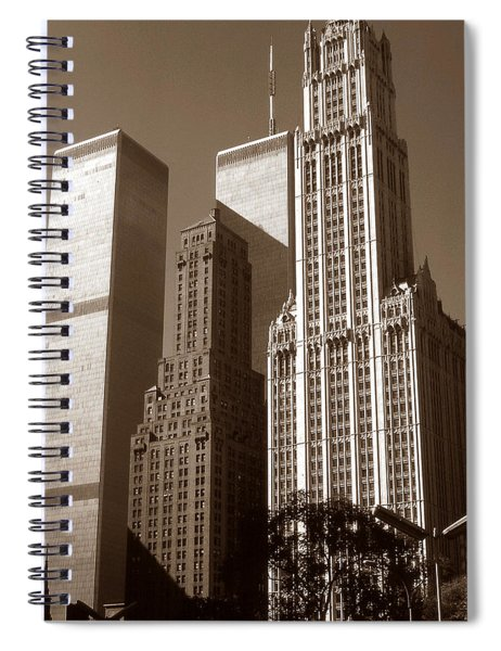 Old New York Photo - Woolworth Building And World Trade Center Spiral Notebook