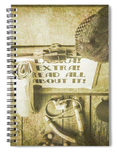 Old Paper Boy News Stand Spiral Notebook