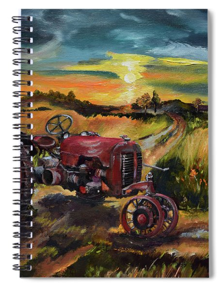 Spiral Notebook featuring the painting Old Red At Sunset - Tractor by Jan Dappen