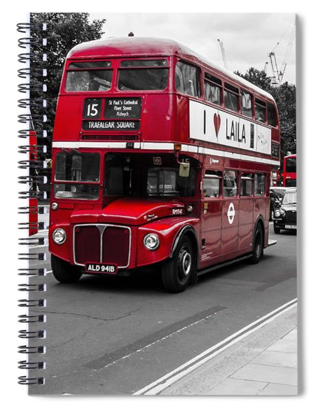 Old Red Bus Bw Spiral Notebook