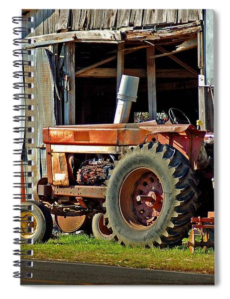 Old Red Tractor And The Barn Spiral Notebook