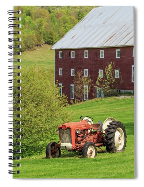 Old Red Vintage Ford Tractor On A Farm In Enfield Nh Spiral Notebook