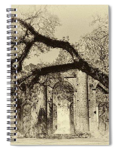 Old Sheldon Church Ruins Bw Spiral Notebook