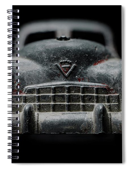 Old Silver Cadillac Toy Car With Specks Of Red Paint Spiral Notebook