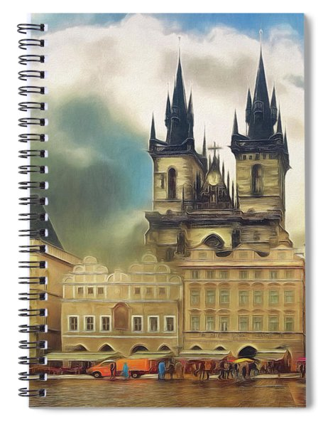Old Town Square Prague In The Rain Spiral Notebook