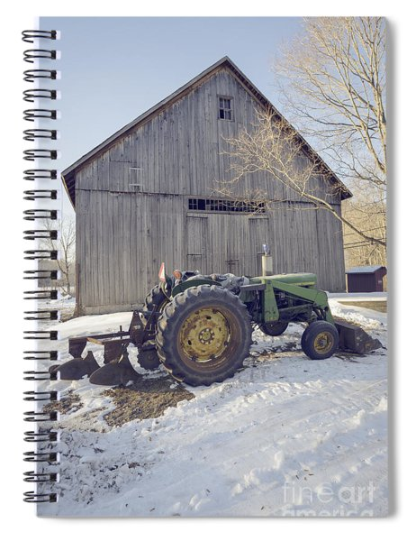 Old Tractor By The Barn Winter Etna Spiral Notebook