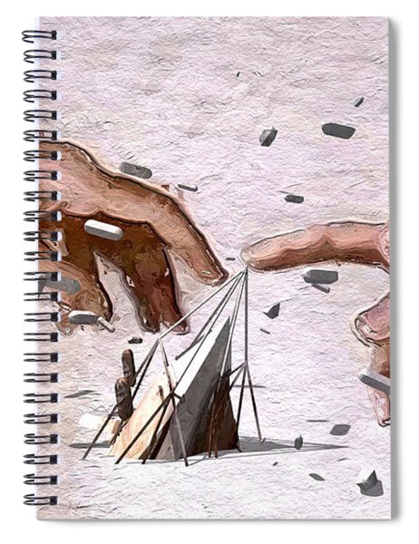 Spiral Notebook featuring the digital art Traditional Art Vs. Digital Art by ISAW Company