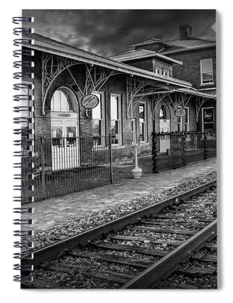 Old Train Station With Crossing Sign In Black And White Spiral Notebook