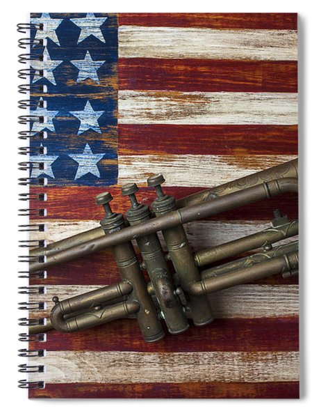 Old Trumpet On American Flag Spiral Notebook