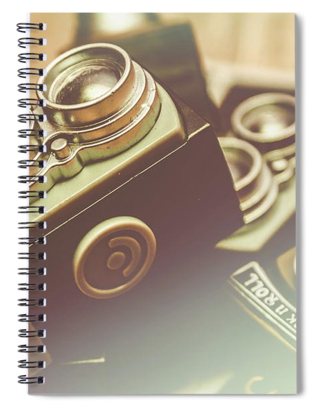 Old Vintage Faded Print Of Camera Equipment Spiral Notebook