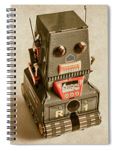Old Weathered Ai Bot Spiral Notebook