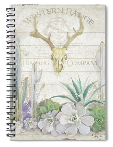 Old West Cactus Garden W Deer Skull N Succulents Over Wood Spiral Notebook