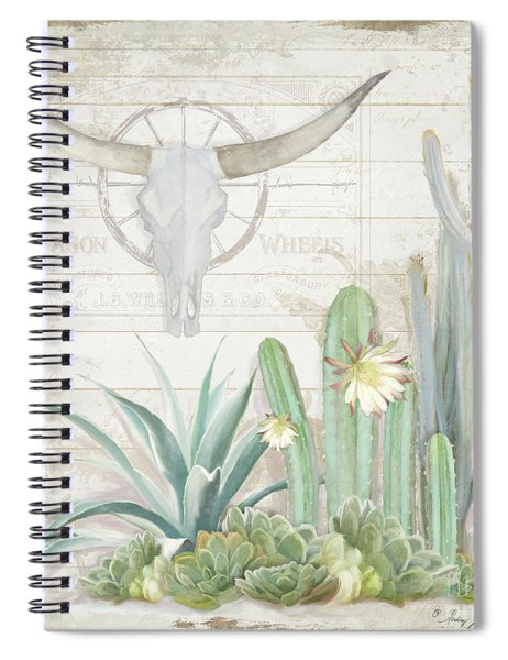 Old West Cactus Garden W Longhorn Cow Skull N Succulents Over Wood Spiral Notebook