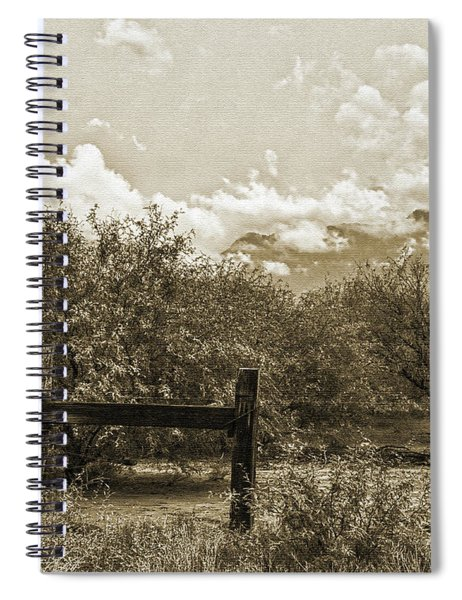Old West Gate And Storm Clouds Spiral Notebook