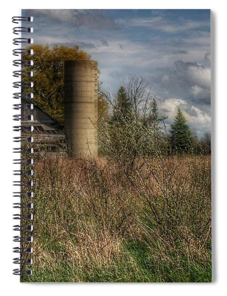 0034 - Old Wooden Barn And Silo Spiral Notebook