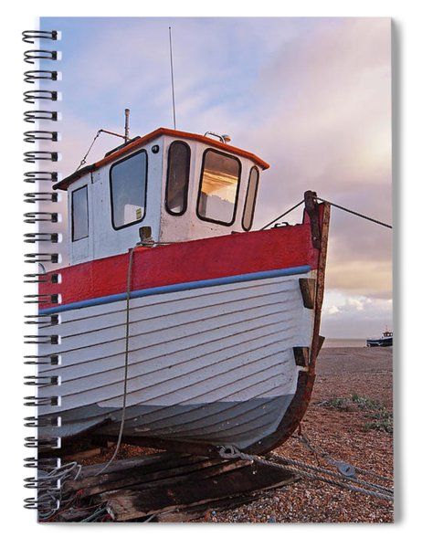Old Wooden Fishing Boat Home By Sunset Spiral Notebook