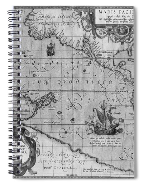 Old World Map Print From 1589 - Black And White Spiral Notebook