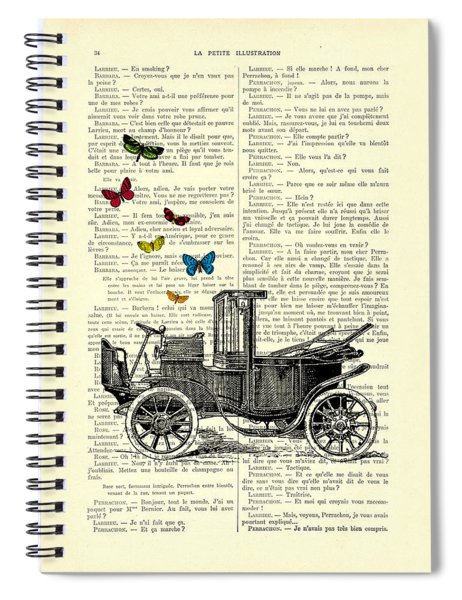 Oldtimer And Butterflies Spiral Notebook