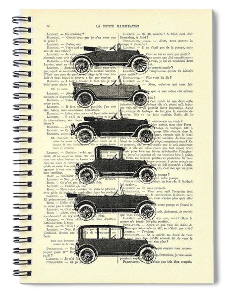Collection Oldtimers In Black And White Vintage Illustration Spiral Notebook