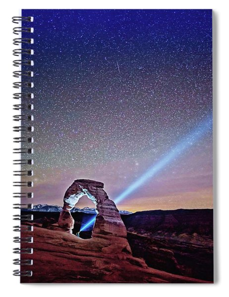 Olena Art Starry Night Pointer At Delicate Arch Moab National Park Spiral Notebook